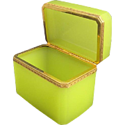 SOLD RARE Antique French Yellow Opaline Glass Casket Box with Smooth Dore Bronze Mounts.