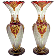 SOLD Antique Pair of Bohemian Ruby Red Enamelled Vases