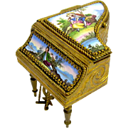Miniature Antique Palais Royal French Enamelled Piano Box