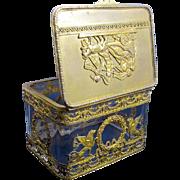 Antique Napoleon III Cut Crystal Dore Bronze Casket Box