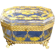 SOLD Antique Baccarat French Glass Casket Box with Gold Enamel