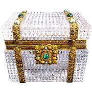 Antique Baccarat Diamond Cut Crystal Casket Box with 'Jewels'.