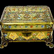 Antique Bohemian Moser Glass Casket Box
