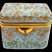 Antique Bohemian MOSER Turquoise Glass Enamelled Casket Box
