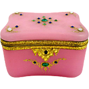 Stunning Antique French Pink Opaline Glass Casket Box