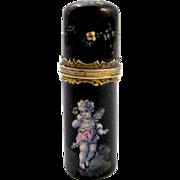 SOLD Antique Palais Royal Enamelled Cherub Perfume Bottle