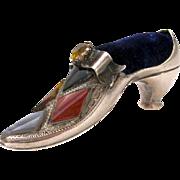 Antique Rare Silver Shoe Pin Cushion
