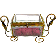 Antique Miniature French Dore Bronze & Glass Casket Box