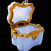 Rare Antique French Lavender Opaline Glass Casket Box