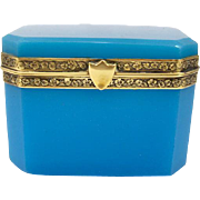 Antique French Blue Opaline Glass Casket Box with Shield Clasp