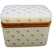 Antique French White Opaline Casket with Gold Enamelling