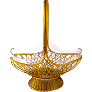 Large Antique French Napoleon III Cut Crystal and Dore Bronze Basket