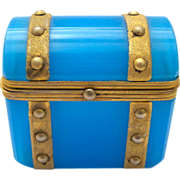 SOLD French 19th Century Blue Opaline Mini 'Chest' Box