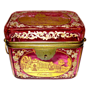 SOLD Bohemian 19th Century Cranberry Engraved box
