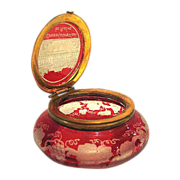SOLD Mini Bohemian 19th Century Red Engraved Pill box
