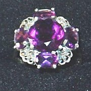 SALE Gorgeous Amethyst and Marquisette Antique Ring