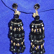 Vintage Runway jet black glass chandelier earrings superb!