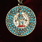 SALE Vintage Turquoise Coral Tibetan necklace with ghau / prayer box pendant
