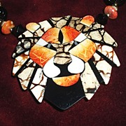 SALE Fantastic 1970's inlaid Lion Necklace Book piece