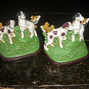 Wonderful Vintage Hubley cast iron Bookends Spaniel hunting dogs