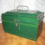 Dark Green Tole Tin Document Box