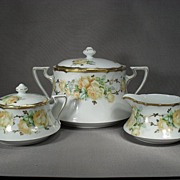 SALE 3 Piece of German porcelain. Biscuit or Cracker Jar, Cream and Sugar. Gorgeous Yellow ...