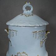 Lovely Light Blue Porcelain Condensed Milk Holder from 1902
