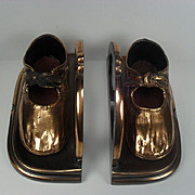 SALE Bronzed Baby Shoe Bookends - So Sweet
