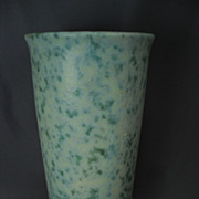 Large Burley Winter Pottery Vase in Green and Cream  #602