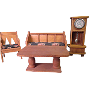 SALE German Dollhouse Parlor Furniture - Settee 2 Chairs Grandfather Clock and Table - Large 3