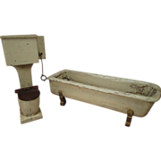 Wooden Bathroom Tub and Toilet for Large Doll House or Display - Very Shabby