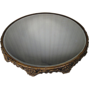 """Large Beveled Mirror Plateau with Cast Ormolu Base - 14 3/4"""" in Diameter"""
