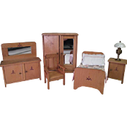 """Wooden Doll House Furniture - 4 Piece Bedroom Set - 1"""" Scale"""