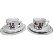 German Porcelain Children's Dishes - Two Place Settings - Dancing Children