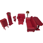 "SALE Strombecker Dollhouse Furniture - Complete 8 Piece Red Living Room Set - 1"" Scale"