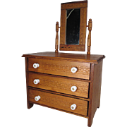 "Miniature Oak 3 Drawer Dresser with Mirror for Dolls or Display - 14"" Tall"