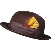 """SALE Vintage Royal Stetson Snap-Brim Fedora - Dark Brown Wool with Feathers - Size 7 3/8"""""""
