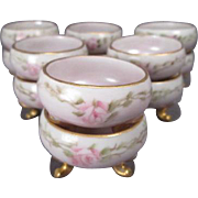 12 Porcelain Individual Salt Cellars - Hand Painted with Pink Roses - Made in Austria - ...