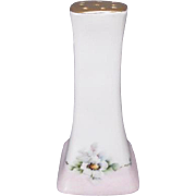 Lovely Porcelain Hat Pin Holder - Hand Painted with Wild Roses and Trimmed in Gold