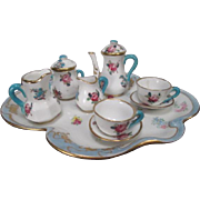 SALE Crown Staffordshire Miniature Tea or Coffee Set - Floral Bouquet with Blue Trim