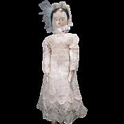 "Antique German Grodnertal Wooden Peg Doll - 12"" Tall - Late 1800's"