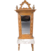 """Schneegas Doll House Pier Glass Mirror for 1"""" Scale Dollhouse - Golden Oak Finish with Ma"""
