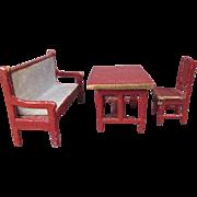 "Miniature German Dollhouse Furniture - Gottschalk - Settee, Table and Chair - 1/2"" Scale"