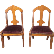 """Pair of Golden Oak Schneegas Dining Room Chairs - Small 1"""" Scale or Large 3/4 ..."""