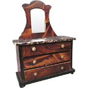 "German Dollhouse Furniture - Kestner 3 Drawer Chest with Faux Grained Finish - Large 1"" S"