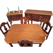 "Strombecker Dollhouse Furniture- Complete Walnut Dining Room from 1936 - 1"" Scale"