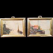 German Dollhouse Accessories - Pair of Erhard & Sohn Prints - Scenes of Holland