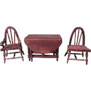 "German Doll House Furniture - Red Stain Gate Leg Dining Table & Windsor Chairs - 1"" Scale"
