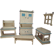 Antique German Dollhouse Furniture - 6 Piece Wooden Kitchen Set - Large Scale