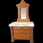 German Dollhouse Furniture - Schneegas Golden Oak 3 Drawer Dresser with Marble Top & Mirror -